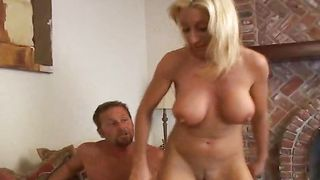 Slender blonde maid Regan with firm tits eagerly swallows a throbbing phallus