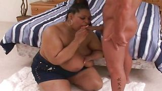 Beautiful busty Sacha is rubbing her clit while getting fucked very hard