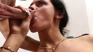Appetizing busty brunette Christin is really easy to pick up and fuck
