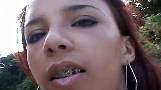 Lovely latin Sol with massive tits is getting fucked in the middle of the day and getting a pleasure