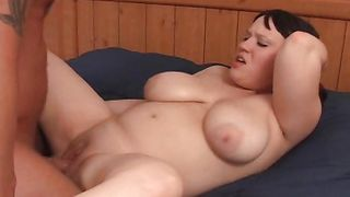 Fascinating girl Juliet with massive tits rapidly jumps on a pulsating fuck stick