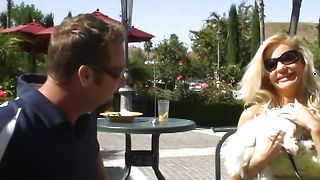 Tempting busty blonde Cristal sucking her man's erect hard donga well
