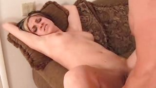 Extraordinary gf Trina with big tits is spreading her oiled ass while stud is drilling her shaved gash