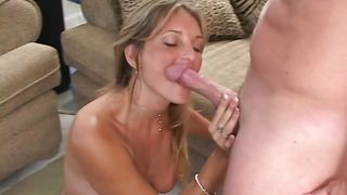 Appetizing blonde cutie Cecilia with large tits and lad are already fucking like crazy