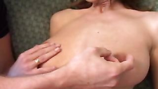 Enchanting Brooke Banner with big tits gladly slobbers over a nice hard dong