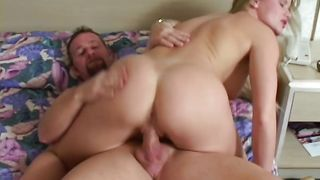 Salacious blonde minx Lea with firm tits screams while banged by a perverted guy