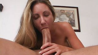 Swingeing blonde Lisette with impressive tits stands in different positions giving deep blowjob