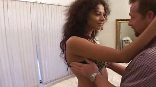 Awesome latin brunette honey Olivia with round tits is spreading her legs wide open and getting fucked the way she likes
