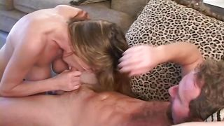 Astounding busty brunette Rachel is giving nice blowjob after hardcore sex