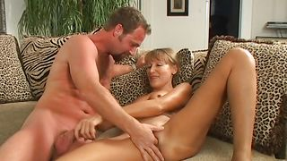 Mate a lucky dude getting to bone startling blonde Nickie with round tits