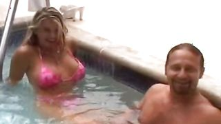 Dissolute brunette Vicky Vette with large tits spreads wide for a big chopper