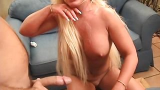 Spicy blonde Montana with impressive tits loves flicking his pulsating chopper