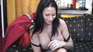 Classy Harley with huge tits rubs her wet honey pot and gives thick sausage a handjob