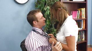 Beguiling brunette Carmen McCarthy with massive tits gets her taco pummeled real raw