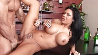 Heavenly busty chick Mason Moore is violently impaled on a big tool