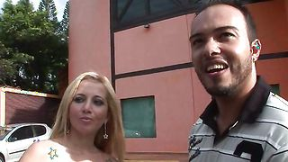 Sex appeal Sabrina Blond with large tits and pal are making wild hardcore