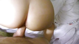 Playful eastern cutie Audrina Grace with massive tits experiences a screaming orgasm while being mercilessly drilled