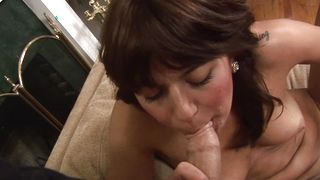 Beautiful Mina with huge natural tits happily drools over her fuckmate's dick