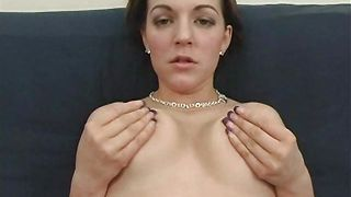 Dishy busty brunette floozy Alicia Avery bends over for a chopper