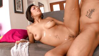 Stunning ebony sweetie Vanessa Leon with large tits chugs a dangler