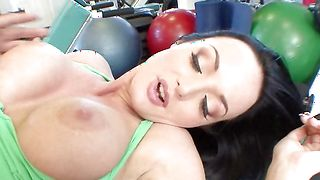 Appealing darling Melissa Lauren with impressive tits is sucking a rock hard phallus free of charge and getting fucked in return