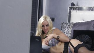 Lewd latin blonde Blondie Fesser with big natural tits drives her male into the worlf of orgasm