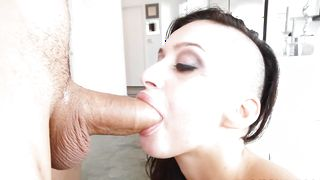 Delectable busty brunette Alby Rydes is down on her knees and gently sucking hard pipe