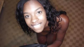 Overwhelming ebony Armani Monae with curvy natural tits enjoys riding a big and massive schlong