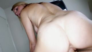 Wicked blonde Jordan Denae with round tits strips and flaunts goodies before stroking cock