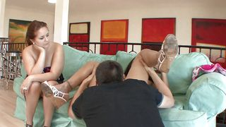 Adorable busty ebony brunette beauty Bethany Benz with perky nipples is getting fucked good in many different positions