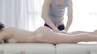 Marvelous busty blonde beauty receives a firm banging