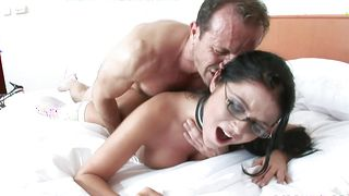 Lover is fucking slutty gal Christina Jolie with round tits to check his skills and shape
