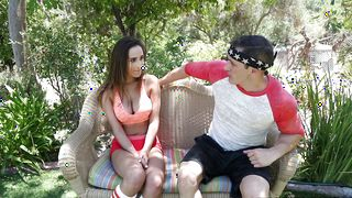 Angelic latin Ashley Adams with big natural tits getting her puss plugged up deeply