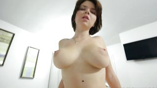 Sensational busty brunette Marina Visconti is sucking a rock hard lovestick like a real pro and enjoying it