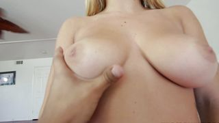 Ravishing blonde beauty Keisha Grey with great tits and male are playing a dirty games at home
