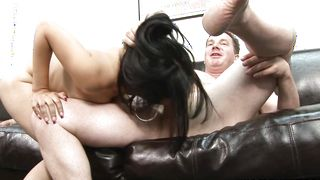 Angelic floozy Andrea Kelly with impressive natural tits is an expert in riding hard sausages