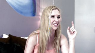 Prodigious busty Samantha Rone gets her shaved taco eaten and gives a blowjob
