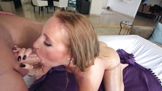 Slender blonde Harley Jade with large natural tits loves having her juicy cunt smashed by experienced lover
