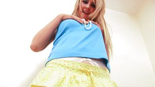 Raunchy teen blonde Katie K with big natural tits gets blasted at the