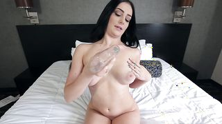 Pretty busty Amanda Aims with firm round tits is fucking a lad she is in love with