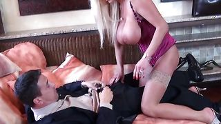 Astonishing babe Sharon Pink with firm tits was sucking stud's rod like a pro whore until he came