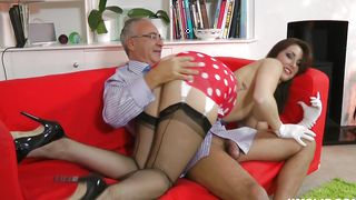 Beautiful brunette Paige with impressive tits is gently rubbing man's dink and the fucking