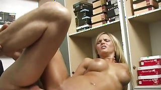 Wicked Mackenzee Pierce with round tits gets seduced and sucks giant lever