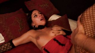 Luxurious busty latin Salma swallows a big fat meat