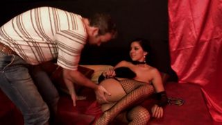Luxurious busty latin Salma swallows a big fat meat